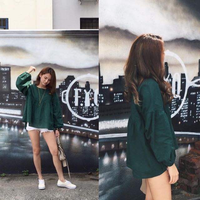 Dovey Diary Green Bell Top