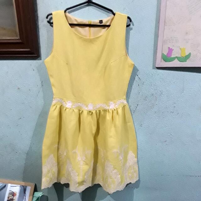 Embroided Yellow Dress
