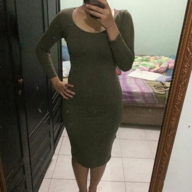F21 Green Army Dress
