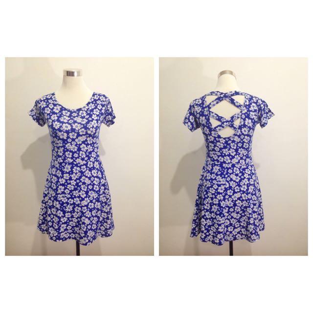 Pre-Loved: White & Blue Floral Dress