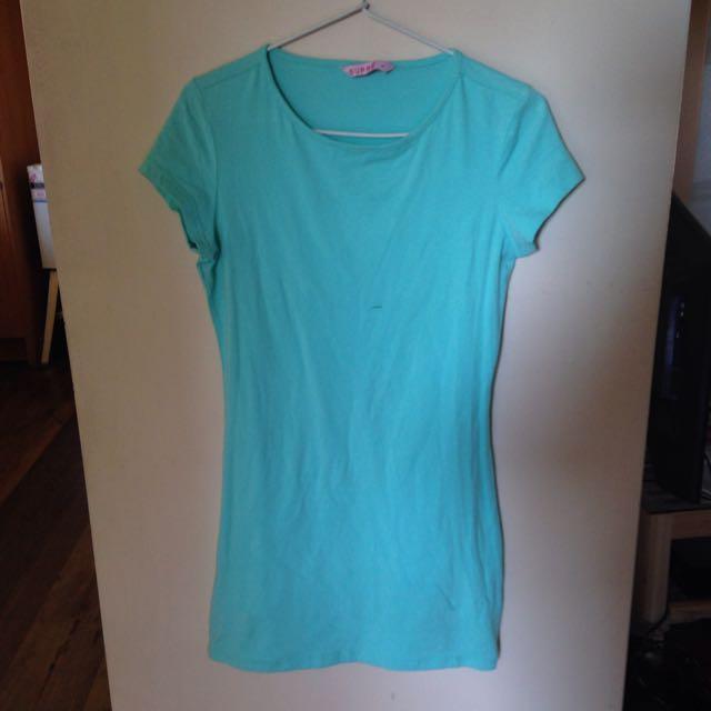 fluro blue Slim tight Tshirt dress