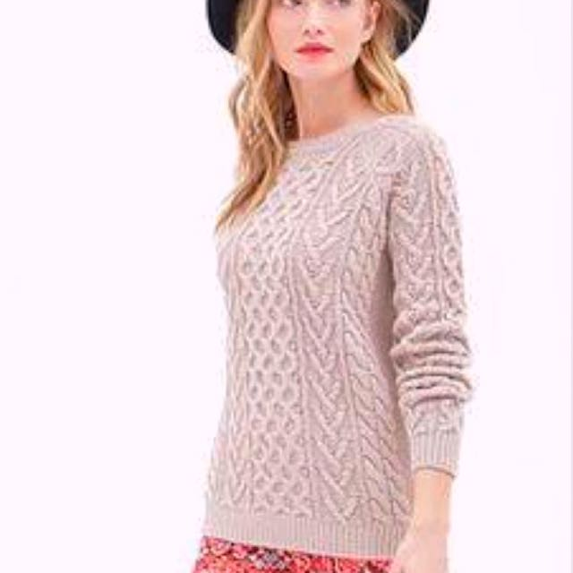 Forever 21 Old Rose Pastel Chunky Cable Knit Pullover / Sweater