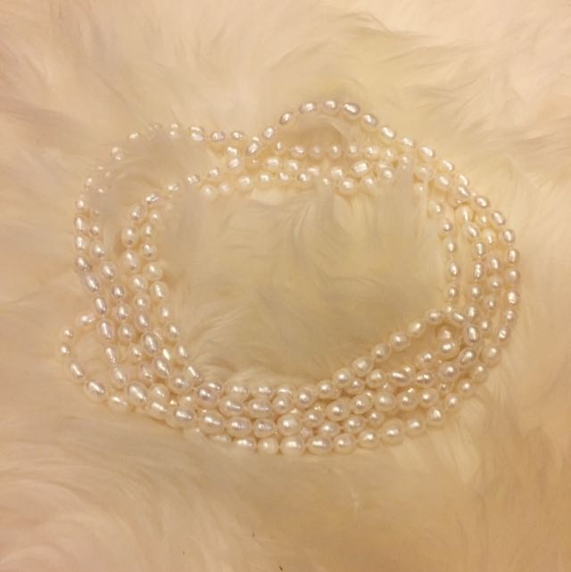 Freshwater White Pearl Necklace 60""