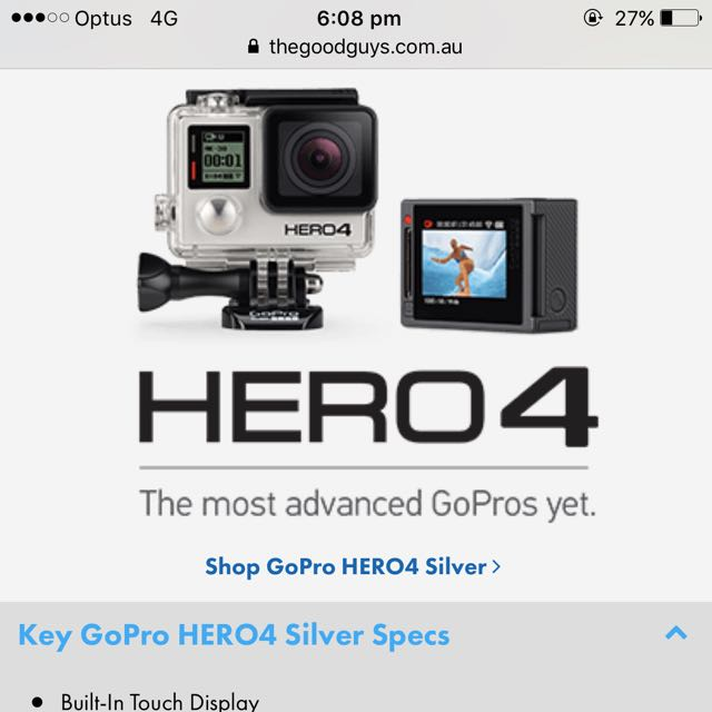 GoPro Hero 4 Silver Edition + Viewing Screen