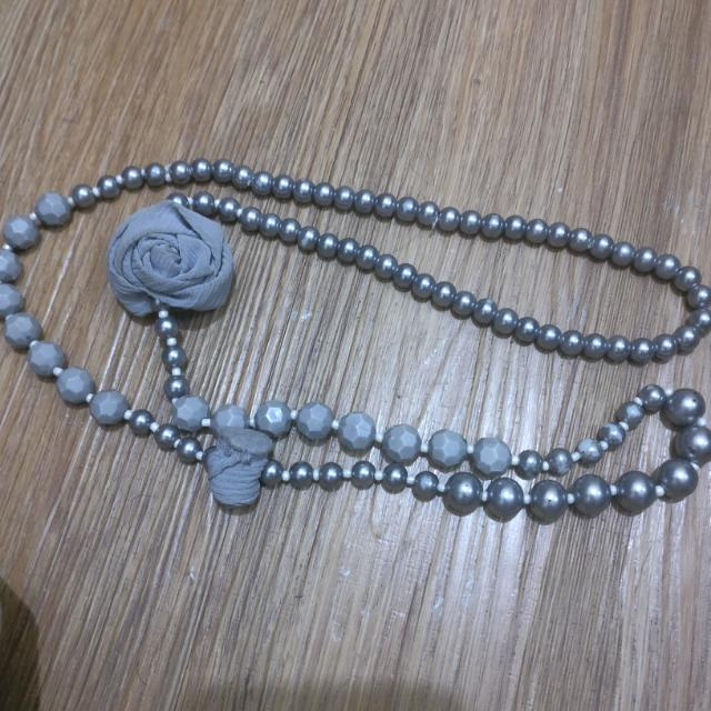 Gray Bead Necklace