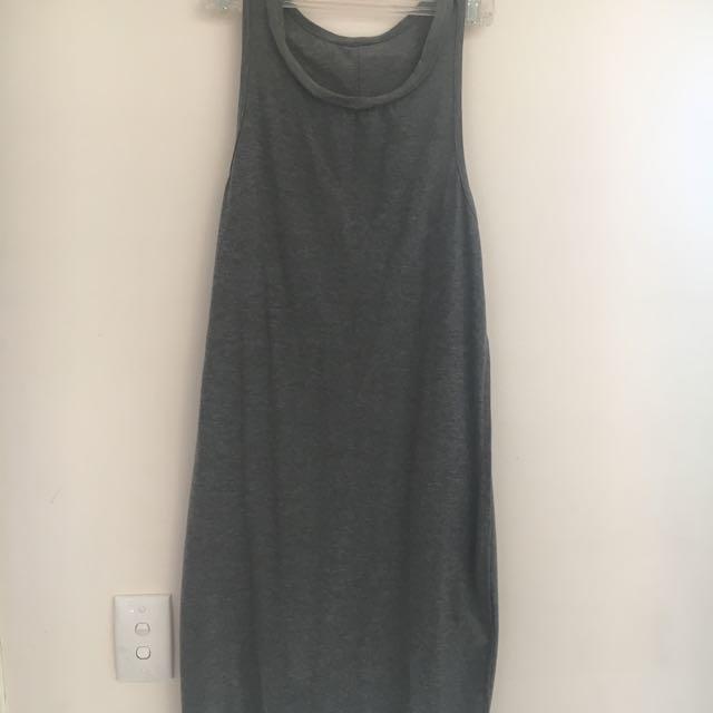 Grey Plain Muscle Maxi Dress