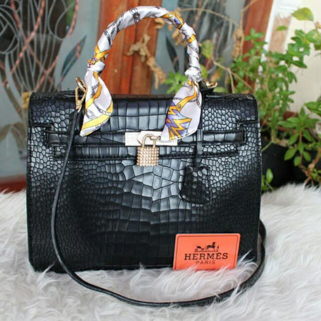 H3rm3s Kelly Croco Black #B6520