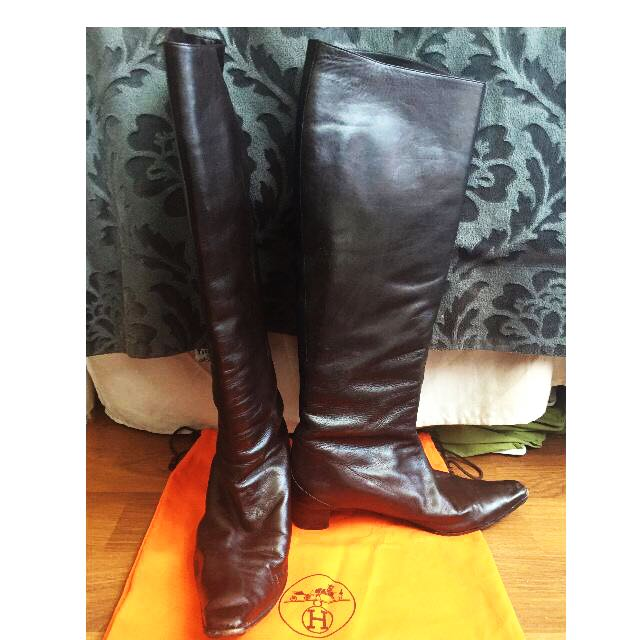 Hermès Riding Boots Size 39.5 Soft Brown Leather
