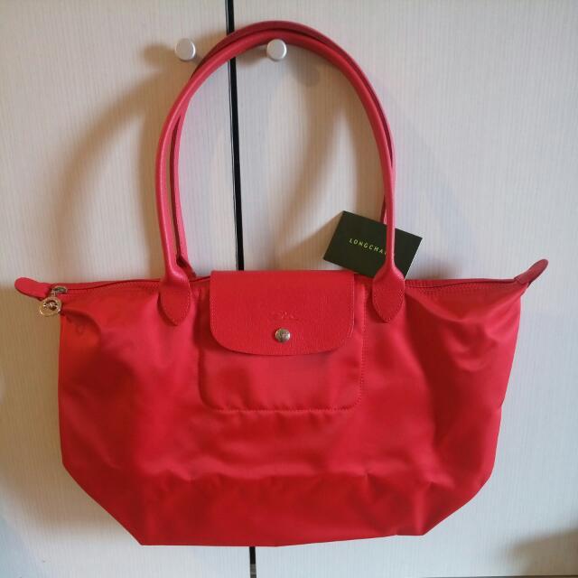 Longchamp neo厚款紅色大購物包