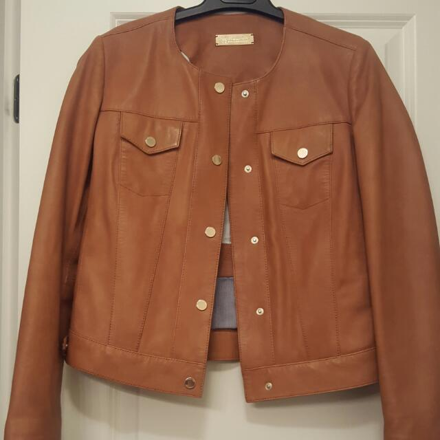 Massimo Dutti Brown Leather Jacket