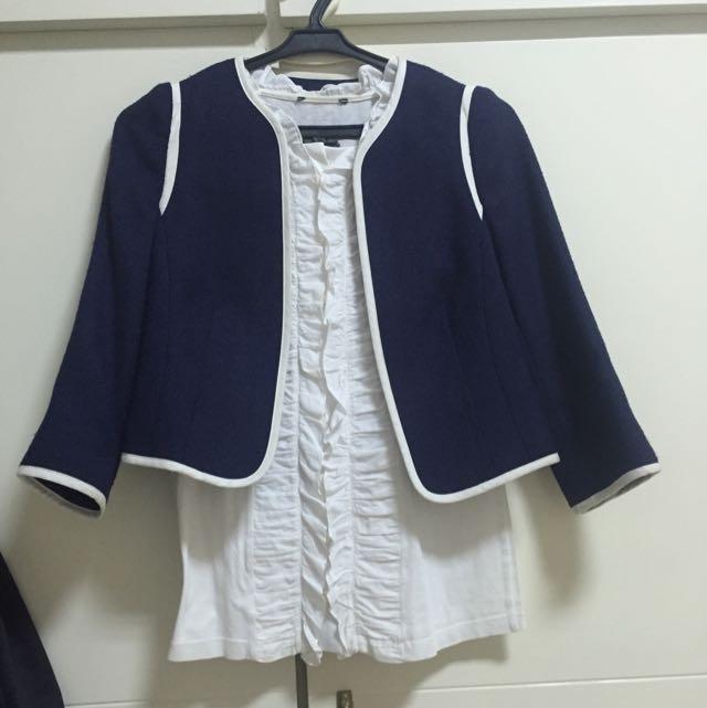 navy new look blazer and shirt