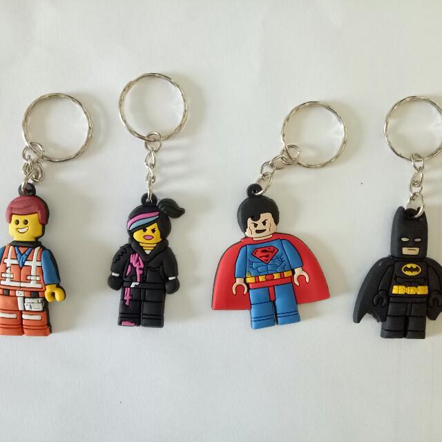 New Lego Movie Keychain Keyring Batman Superman Emmet Wyldstyle ...