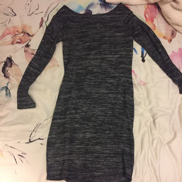 Off Should Grey Casual Dress