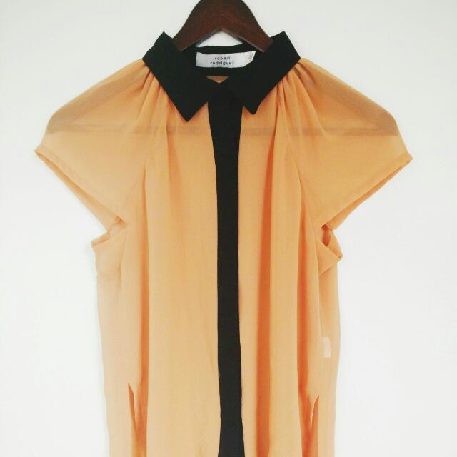 Robert Rodriguez Sheer Pumpkin Blouse XS