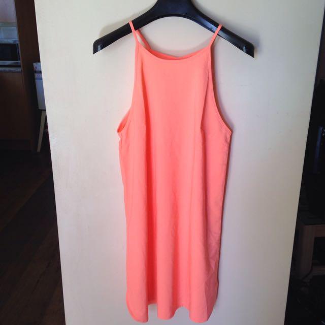 size 10 Fluro pink/orange flowy dress