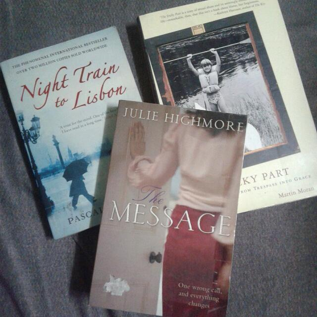 Take All 3 Realistic Fiction Book Bundle: Night Train To Lisbon, The Message, Tricky Part