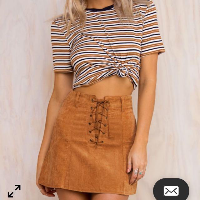 Tan Corduroy Mini Lace Up Skirt