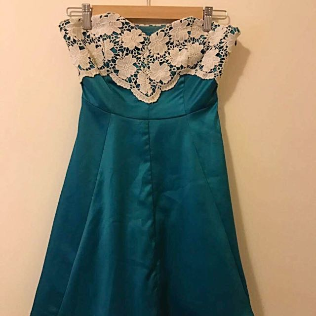 Teal Cocktail Lace Bodice Dress
