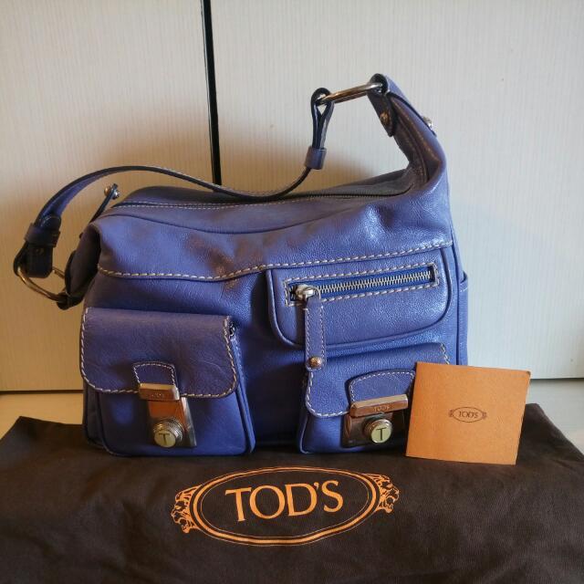 TOD's紫羅蘭色牛皮多口袋個性肩背包
