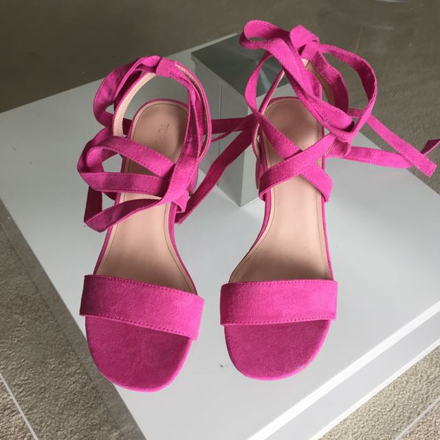 Topshop Pink Tie Up Shoes