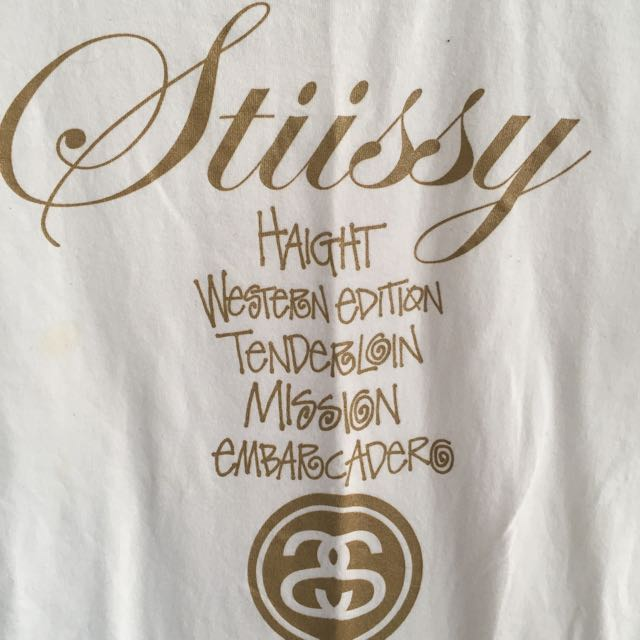 White And Gold Stüssy T-Shirt