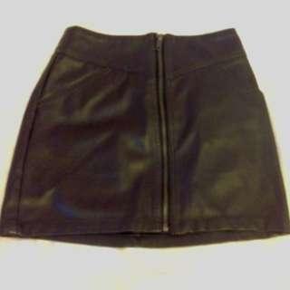 H&M Dark Brown Pleather Zipper Skirt