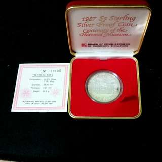 CLEARANCE Singapore 1987 $5 Sterling Silver Proof Coin Centenary of The National Museum