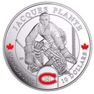 NHL Goalies: Jacques Plante, Montreal Canadiens - 1/2 oz Pure Silver Coin