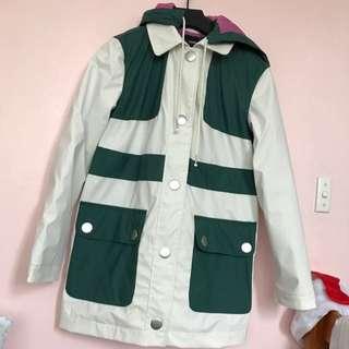 Petite Asos White And Green Mac Raincoat