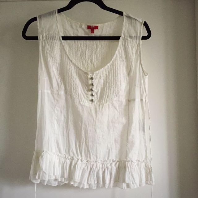 Reduced: 100% Cotton White Esprit Top Size L