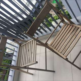 2 Wooden Outdoor Chairs