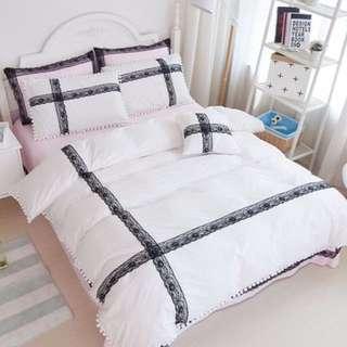 【預購】BZ - 純棉!韓系輕奢黑蕾花邊:床單組(標準/加大/特大)_免運。