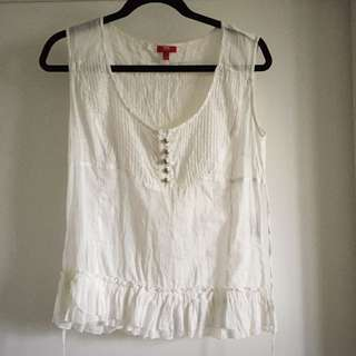 Reduced: 100% Cotton White Esprit Top Size L