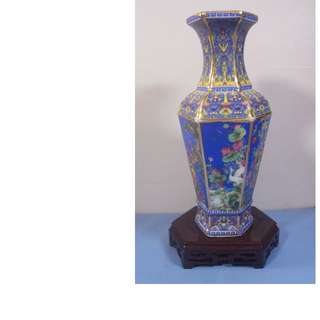 Rare fine vintage Chinese famille rose vase wood stand 6 panels hand paint birds 3