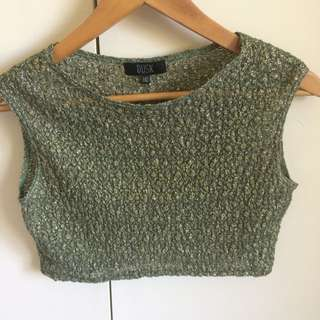 Green/gold Sparkly Cropped Top