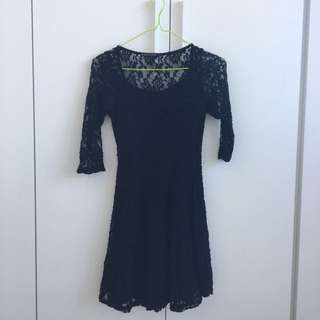'Living Doll' Black Lace Dress (Small)