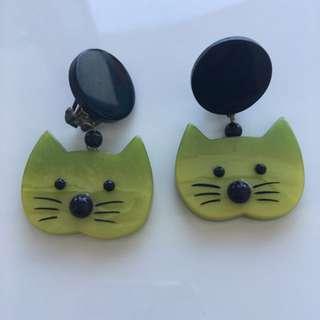 Green Cat Clip-On Earrings