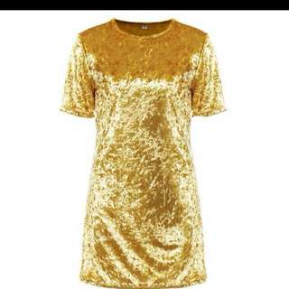 Gold Velvet Dress (READY STOCK)
