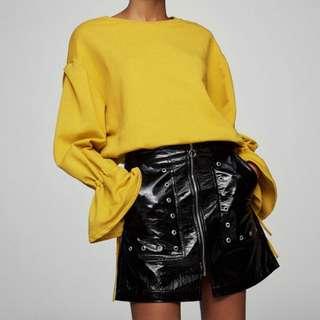 Pull & Bear Black Patent Finish Skirt