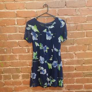 VINTAGE navy floral dress size 8