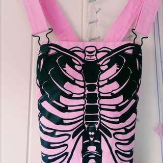 Pink Skeleton Miniskirt Overalls