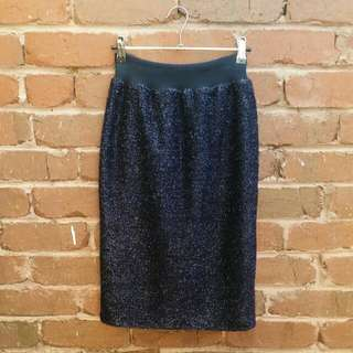 TOPSHOP Navy tinsel skirt size 8