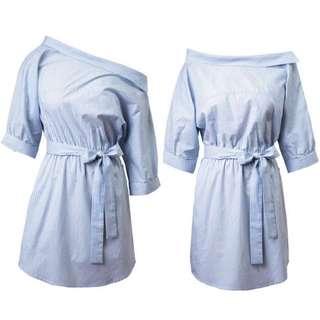 (預訂)裇衫料直條跌膊連身裙