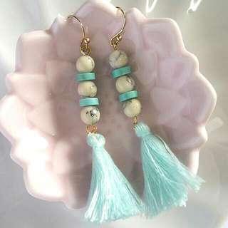 • Boho • Handmade Dangling Turqoise Flat Beads, Ivory White Marble Patterned Beads, Pastel Light Blue Tassel Earrings •