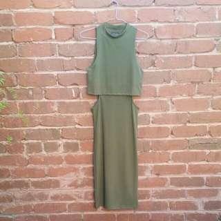 TOPSHOP Olive Green Cutout Dress Size 8