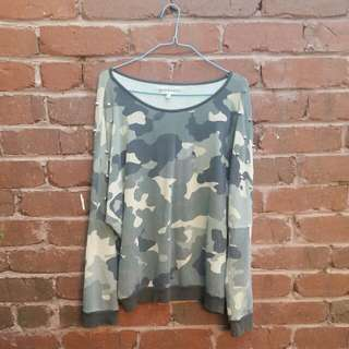ZARA Camo Jumper With Spike Detail Size Small