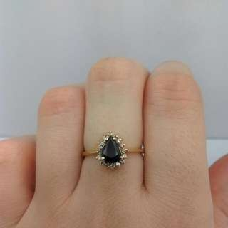 Genuine 9CT Yellow Gold Natural Sapphire And Diamond Ring