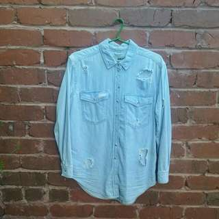 TOPSHOP Ripped denim shirt Size 8