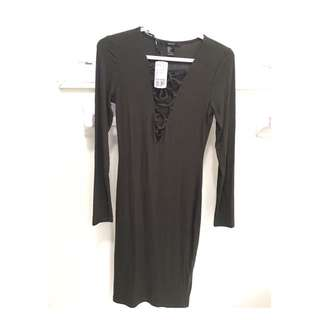 *REDUCED* Forever 21 Ribbed Knit Lace Up Dress
