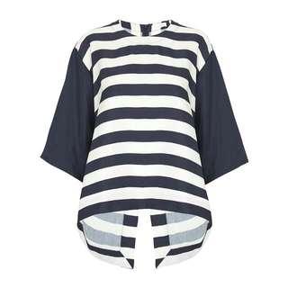 Sass And Bide Navy Stripe Oversize Back Slit Top